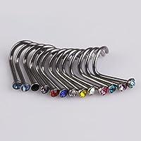 Chinatera 20pcs Mix Colors Rhinestone Nose Studs Ring Bone Bar Pin Piercing Jewelry