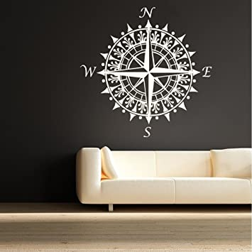 Amazon.com: BATTOO Compass Rose Nautical Vinyl Wall Decal Great ...