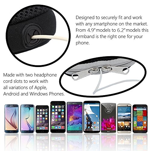 Sports Armband: Cell Phone Holder Case Arm Band Strap With Zipper Pouch/ Mobile Exercise Running Workout For Apple iPhone 6 6S 7 Plus Touch Android Samsung Galaxy S5 S6 S7 Note 4 5 Edge LG HTC Pixel by E Tronic Edge (Image #7)