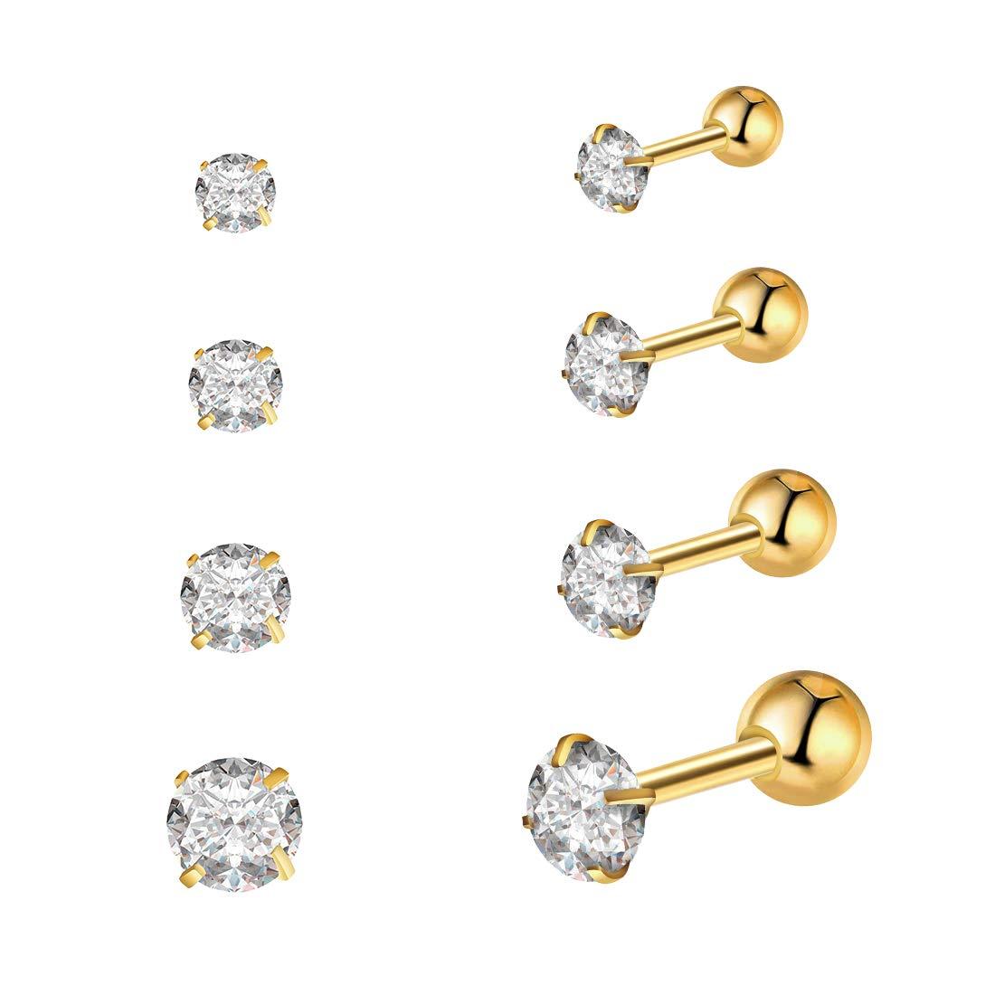 8pcs Earrings Stud Sets with Shining Cubic Zirconia, 16G Surgical Steel Helix Monroe Ear Cartilage Earrings Piercing Jewelry, 2mm-5mm, Silver Gold VELABOOM