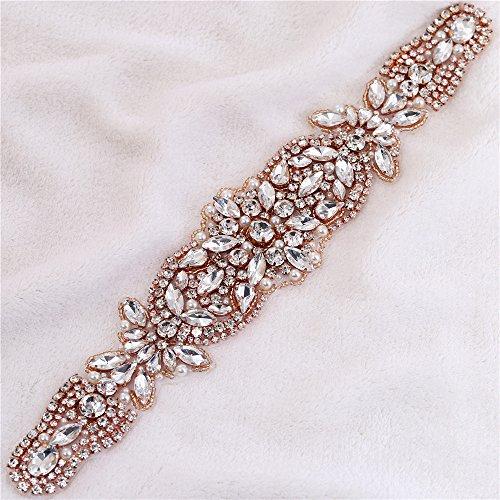 Dance Costumes Rhinestone Ideas (Rose Gold Bridal Belt Rhinestone Applique Crystal Beaded Applique Wedding Dress Embellishment Iron on Applique Glass Beads for Wedding garment DIY (rose gold -2))