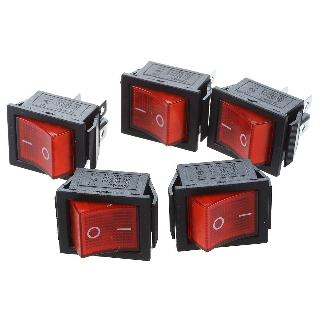 TOOGOO(R) 16A/250V 20A/125V AC Red Neon Light ON/OFF DPST Boat Rocker Switch 5 Pcs by TOOGOO(R) (Image #1)