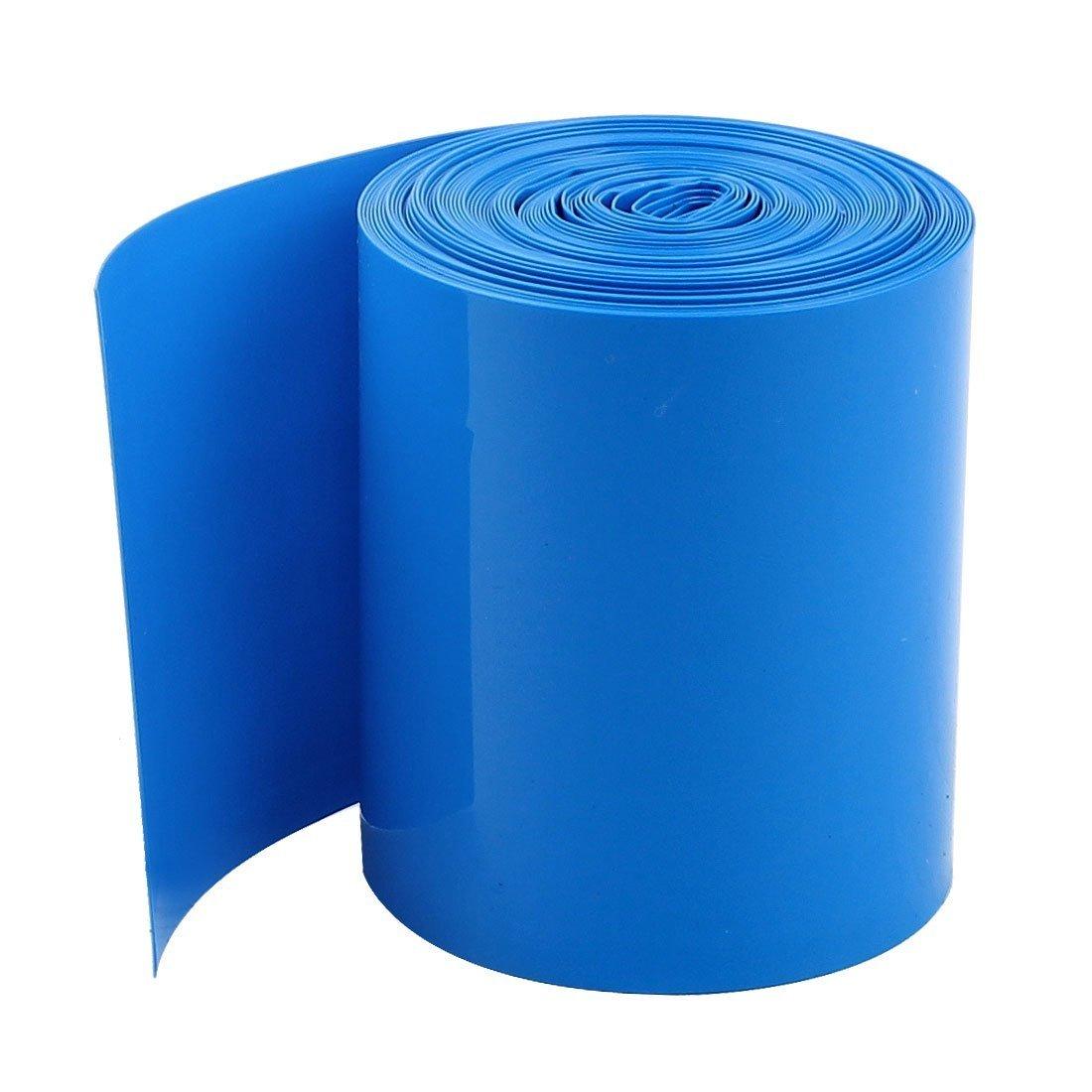 SODIAL(R) 5Meters 50mm Breite PVC Schrumpfschlauch Umwickeln Blau fuer 2 x 18650 Batterie