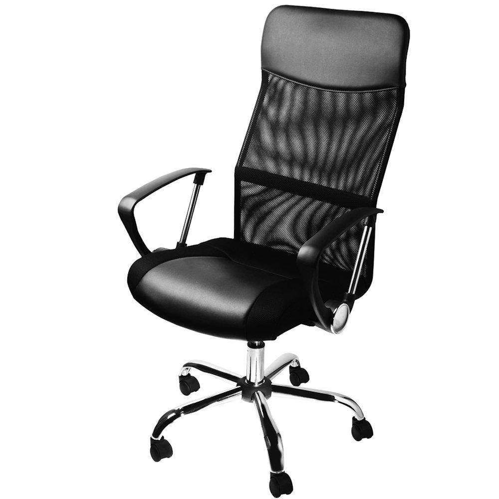 DEUBA Bürostuhl mit Netzbezug   Schreibtischstuhl ergonomisch   Drehstuhl höhenverstellbar   Bürostuhl schwarz
