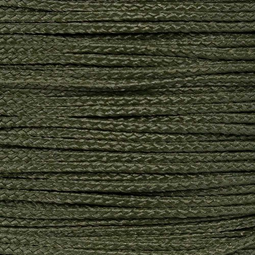 PARACORD PLANET Micro Cord 1.18mm Diameter 125 Feet Spool of Braided Cord - Available in a Variety of Colors Made in The USA (OD Green)