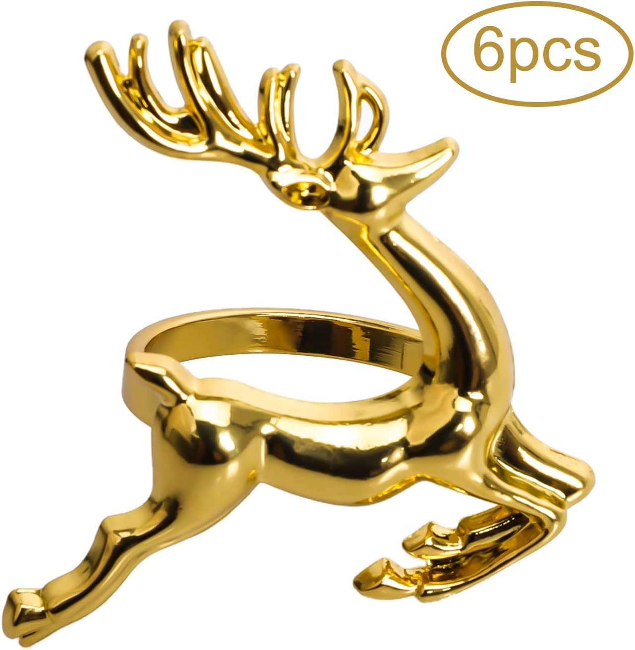 KissDate Napkin Rings, 6Pcs Gold Elk Chic Napkin Rings for Place Settings, Wedding Receptions, Christmas, Thanksgiving and Home Kitchen Dining Table Linen Accessories: Home & Kitchen