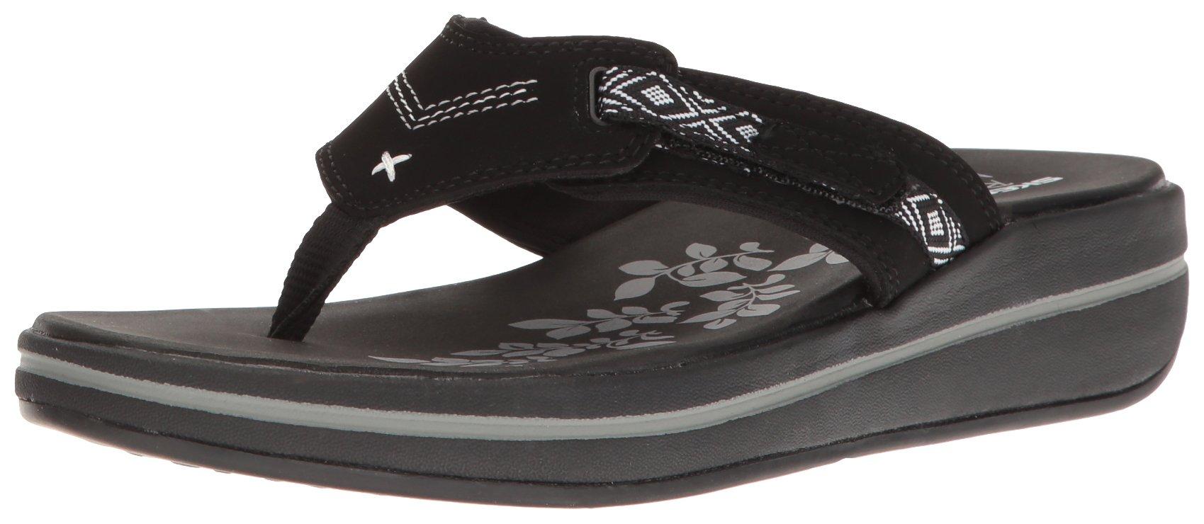 Skechers Modern Comfort Sandals Women's Upgrades Marina Bay Flip Flop Black/White, 8 M US