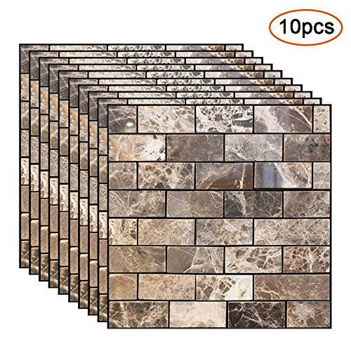 Pawaca 3D Brick Stick Wallpaper, Waterproof Self-Adhesive Stone Wall Stickers for Lving Room Decoration (10 pcs)