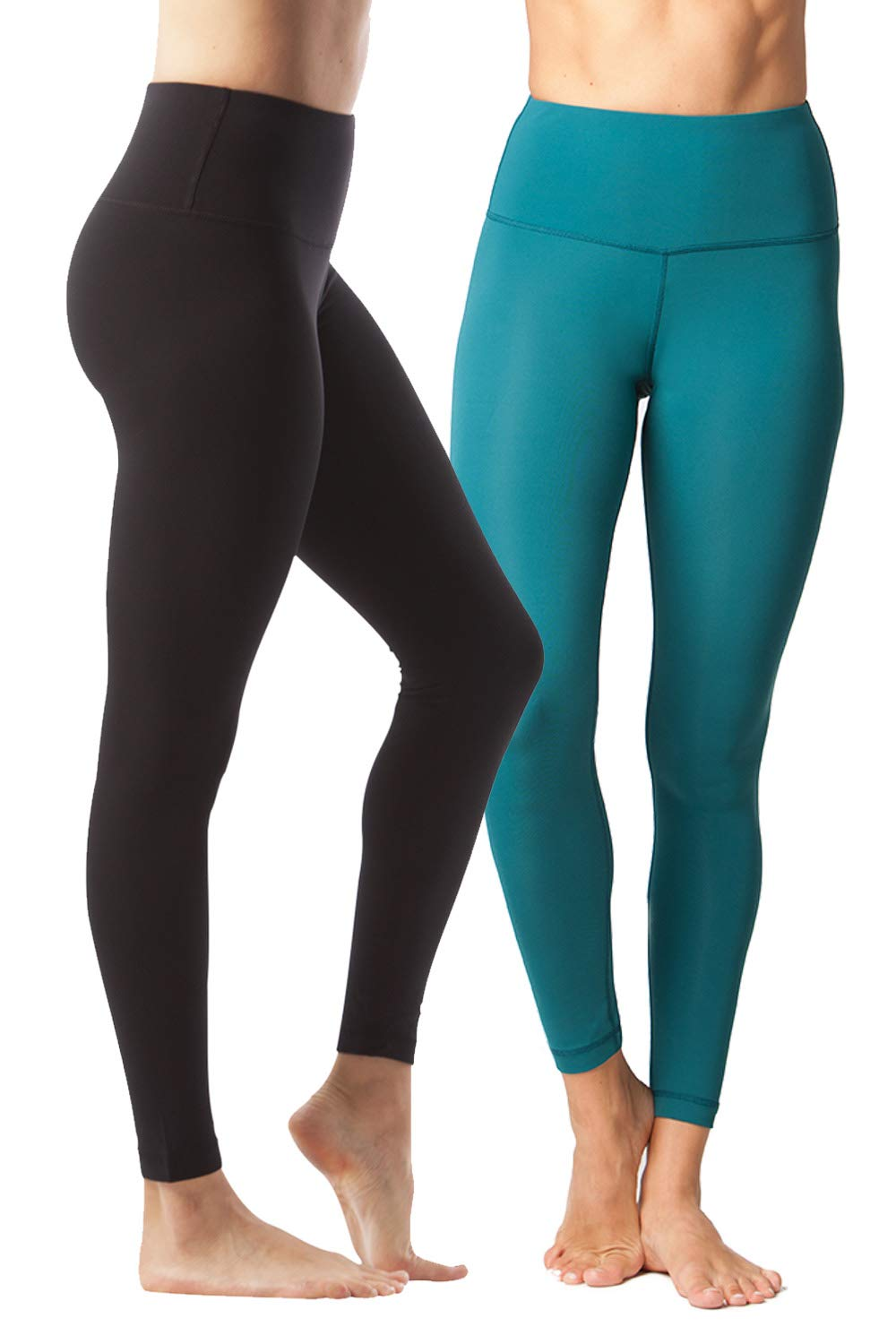 Yogalicious High Waist Ultra Soft Lightweight Leggings -  High Rise Yoga Pants - 2 Pack - Black and Everglade - XS