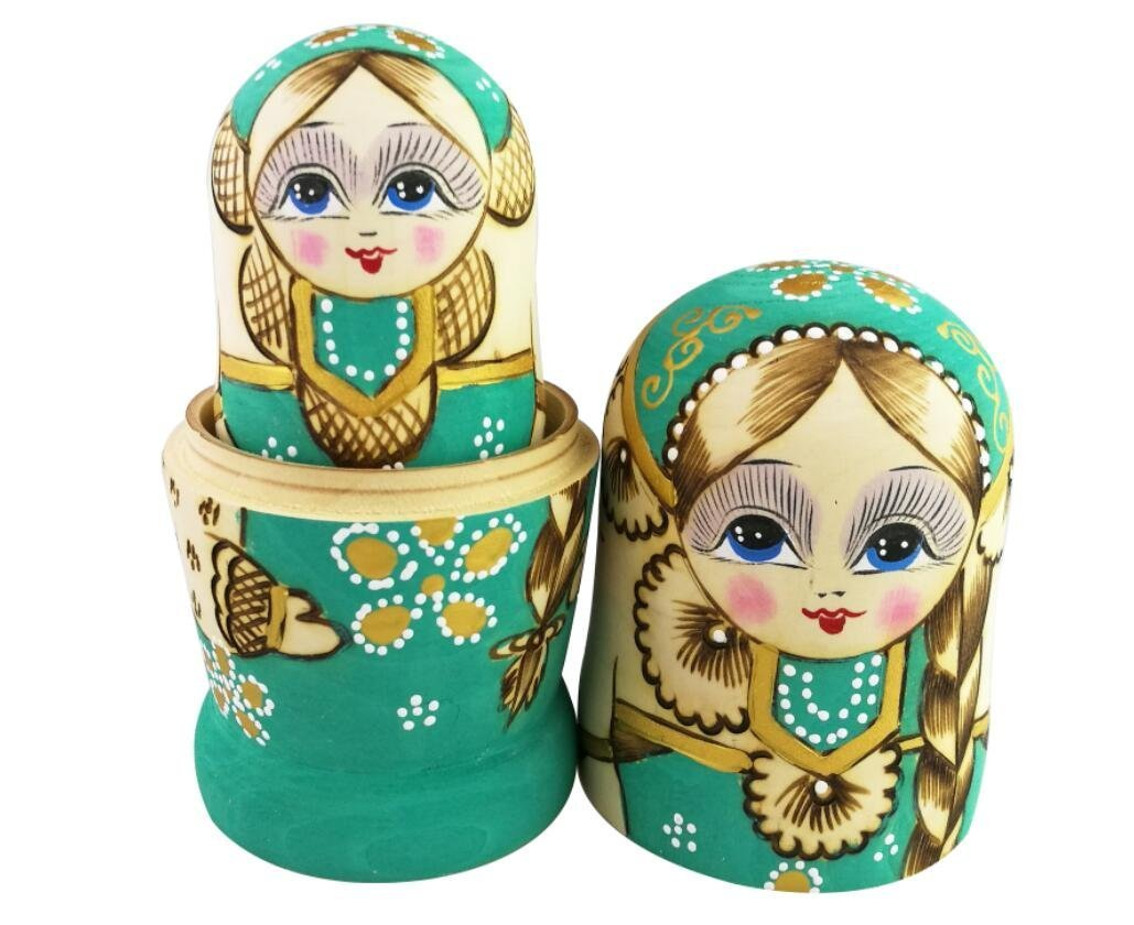 Winterworm Cute Little Girl With Big Braid Handmade Matryoshka Wishing Dolls Mother's Day Gifts Russian Nesting Dolls Set 7 Pieces Wooden Kids Gifts Toy Home Decoration Green by Winterworm (Image #8)