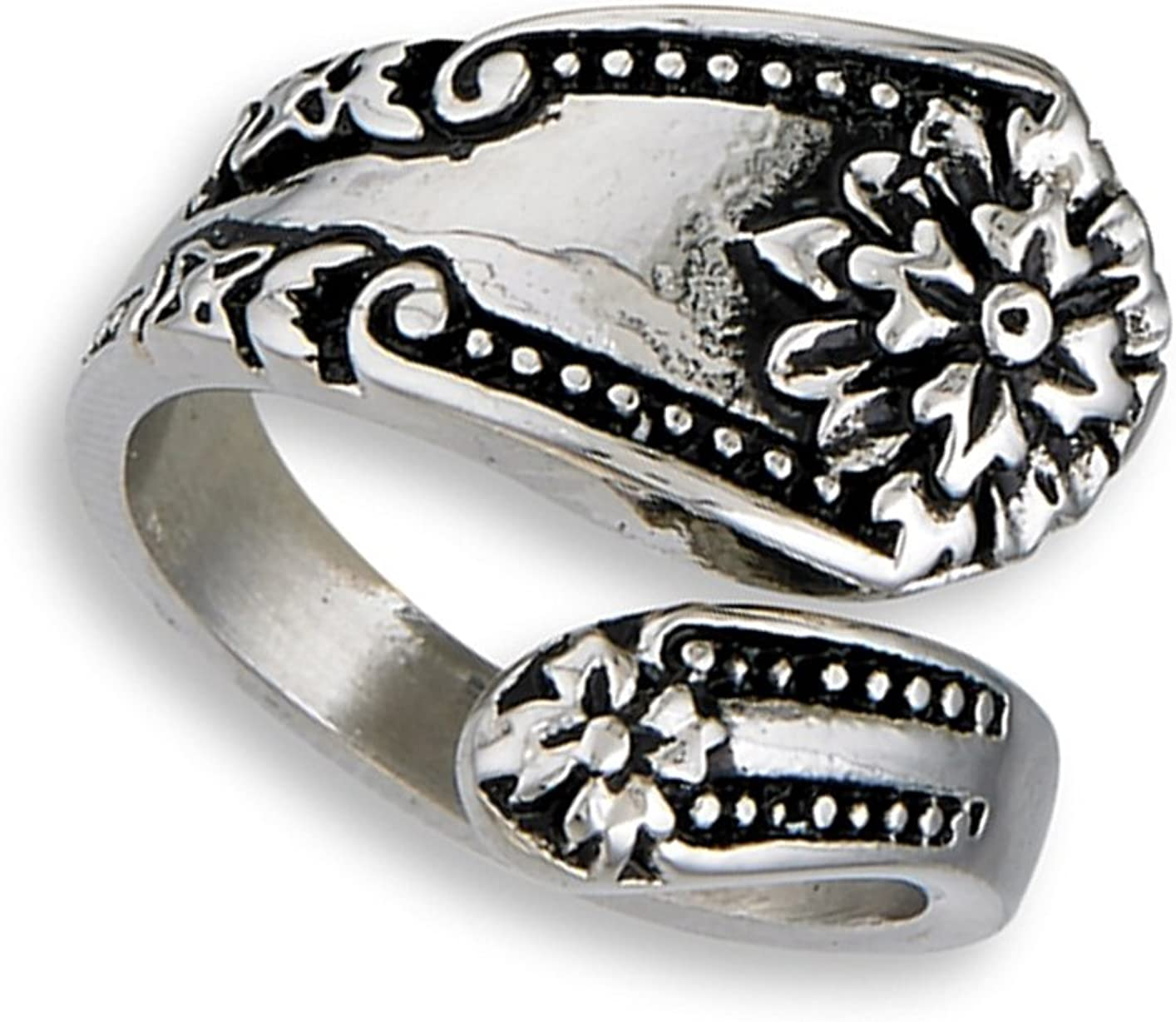 Victorian Flower Spoon Ring Stainless Steel Open Wrap Vintage Band Sizes 7-10