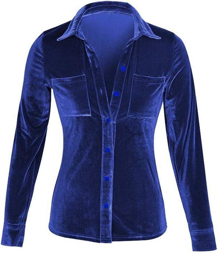 Transer Women Solid Long Sleeve Turn-dowm Collar Velvet Tops Shirt Blouse Dark Blue, M