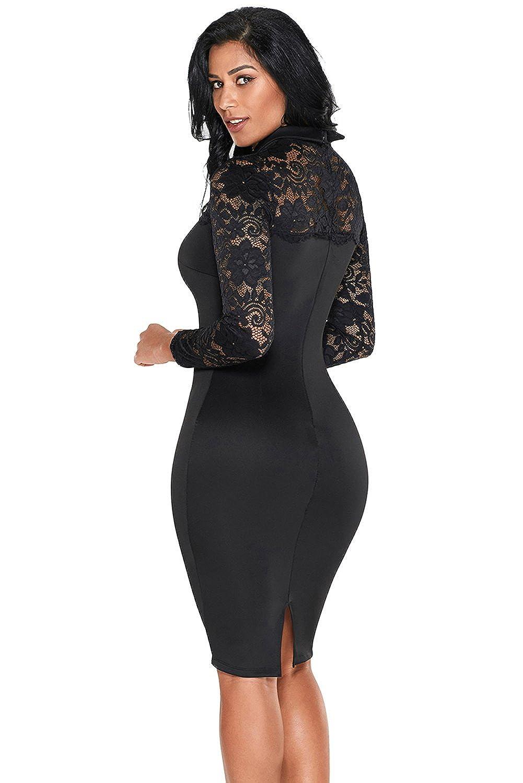 Boldgal Womens One Piece Mini Bodycon Lace Sleeve Dress