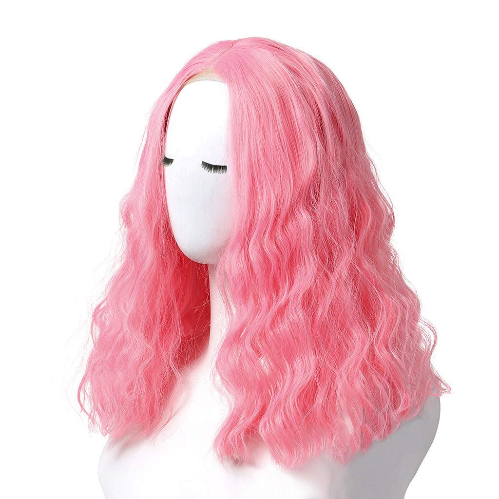 JYS Cosplay Wavy Wigs Full Head Pink Hair Wig Anime Cosplay/Costume Party Fancy Heat Resistant Fiber Dress Water Wave Lace Front Wigs Human Hair (Pink) by JYS (Image #4)