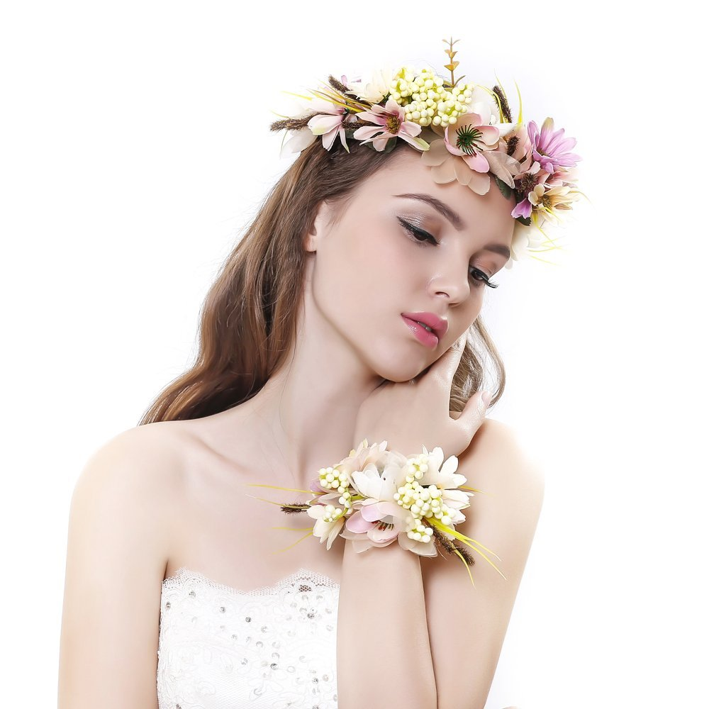 2pcset Flower Wreath Headband With Floral Wrist Band For Wedding