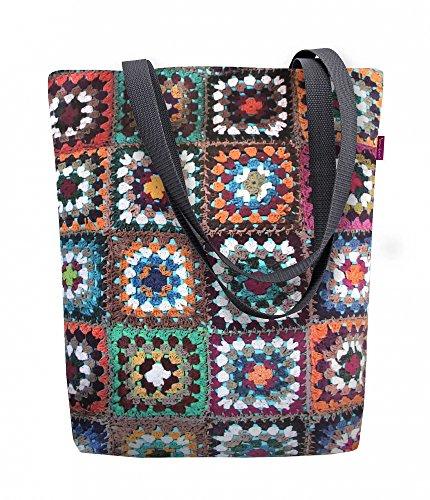 Bertoni Shopper Borsetta Da Donna In Tessuto Kodura Motivo Patchwork Soleggiato