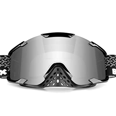 BATFOX Motorcycle Goggles Dirt Bike ATV Motocross Safety ATV Tactical Riding Motorbike Glasses Goggles for Men Women Youth Fit Over Glasses UV400 Protection Detachable Lens with Nose Guard (silver): Automotive