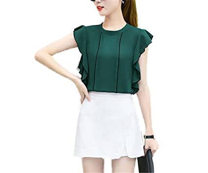 OUXIANGJU Summer New Fashion Women Casual Blouses Chiffon OL Tops Solid O-Neck Short Sleeve