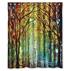 October in the forest watercolor painting Shower Curtain