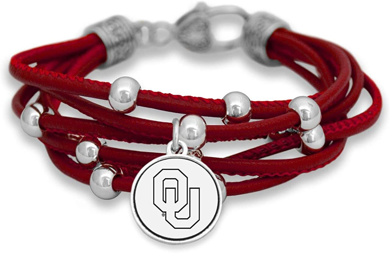 FTH Georgia Bulldogs Leather Strand Bracelet with Logo and Lobster Clasp