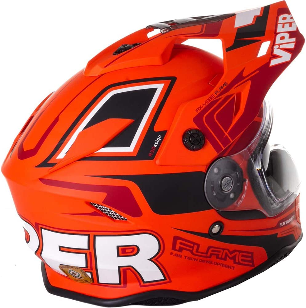 Flame Matt Orange Viper RXV288 Dual Visor MX Enduro Motocross Motorbike Helmet
