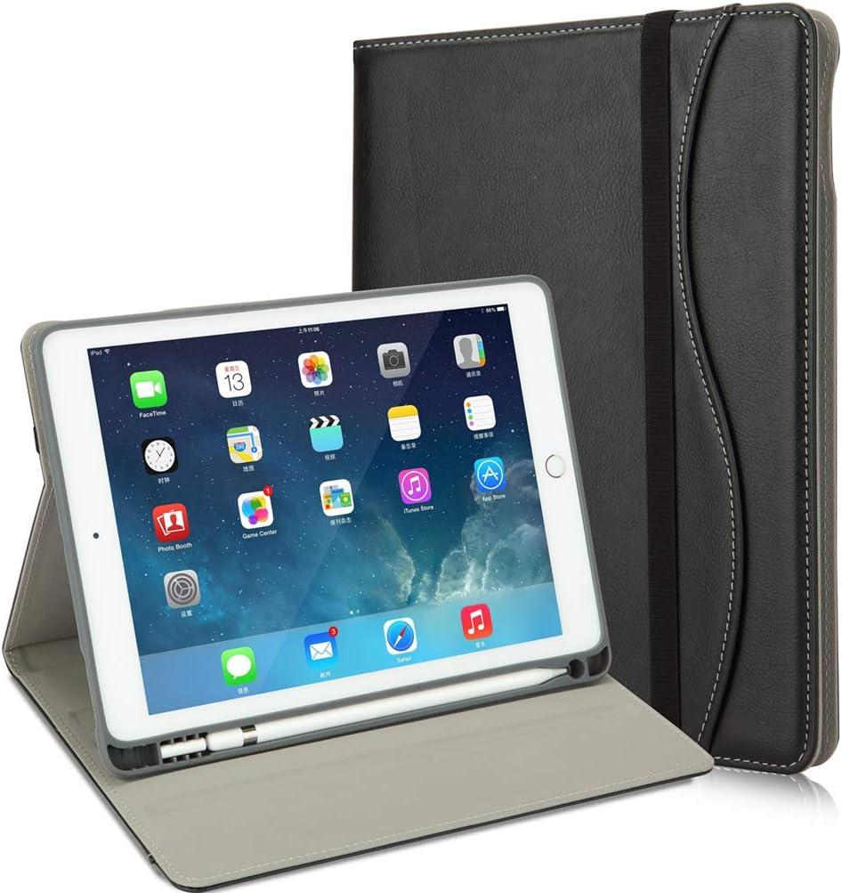 HFcoupe iPad 9.7 Case, Premium iPad 6th Generation Cases with Apple Pencil Holder, Minimalist Pocket and Handle Strap for iPad 2018 (6th) - iPad 2017 (5th) - iPad Pro 9.7- iPad Air 2 & 1 [Black]