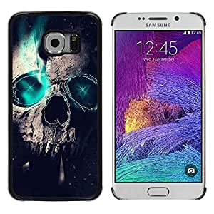 Design for Girls Plastic Cover Case FOR Samsung Galaxy S6 EDGE Skull Green Teal Raven Crow Metal Ink Tattoo OBBA