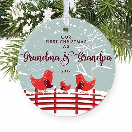 Our First Christmas as Grandma & Grandpa, 1st Xmas Ornament for New Grandparents, Bird Family Nana Pop-Pop Baby Newborn Pretty Circle Ceramic Present 3