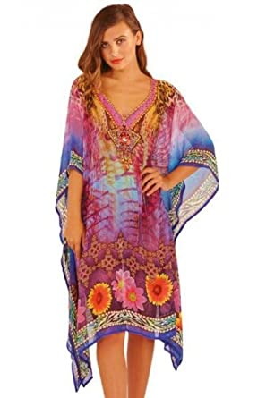 951fab7e821a3 Purple Pink Orange Gold Chiffon Jewelled Kaftan Tunic Top Beach Cover Up  (M/L 16 to 20): Amazon.co.uk: Clothing