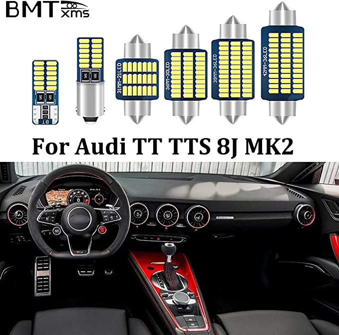License Plate Light Trunk BMTxms 12X Canbus Error Free Led Interior Car Lights Package Kit For Audi TT TTS 8N MK1 Coupe Roadster 1999-2006 Dome Audi TT TTS 8N Crystal Blue Vanity mirror