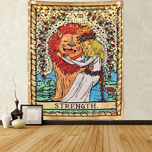 Tarot Tapestry The Strength Tarot Cards Tapestry, Bravely Girl Appeasing Lion Tapestry Medieval Europe Divination Tarot Tapestry for Room