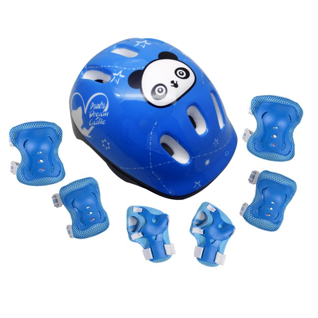 hipsteen mariposa Elbow Wrist Rodilleras y Panda Casco de seguridad Sport Protecciones Protección para Ciclismo Patinaje Jinete Blading–Monopatín infantil de 7piezas, azul