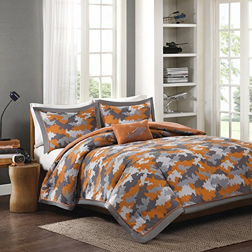 3pc Kids Boys Grey Orange Camouflage Comforter Twin/Twin XL Set, Polyester, Army Camo Bedding Light Gray Colors Military Pattern Abstract Helicopter Pillow Teen Childrens