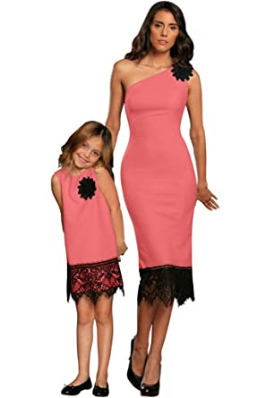 aeea33310 PineappleClothing Pineapple Clothing Coral Pink Chic Mommy and Me Matching  Cocktail Dress Lace