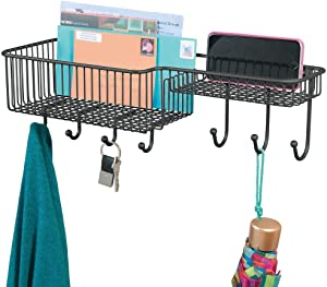 mDesign Metal Wire Wall Mount Entryway Storage Organizer Mail Basket Holder with 7 Hooks, 2 Compartments - for Organizing Letters, Magazines, Keys, Coats, Leashes - Black