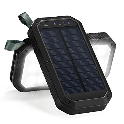 Solar Charger, 8000mAh 3-Port USB and 21LED Light Solar Power Bank Portable Battery Cellphone Charger, Solar Panel for Emergency Outdoor Camping ...