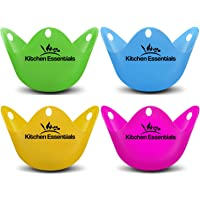 Eier stoompan (4 stuks) – premium gepocheerd ei ei, matte kopjes, BPA-vrij, LFGB siliconen wildpocheerde eiermaker set…