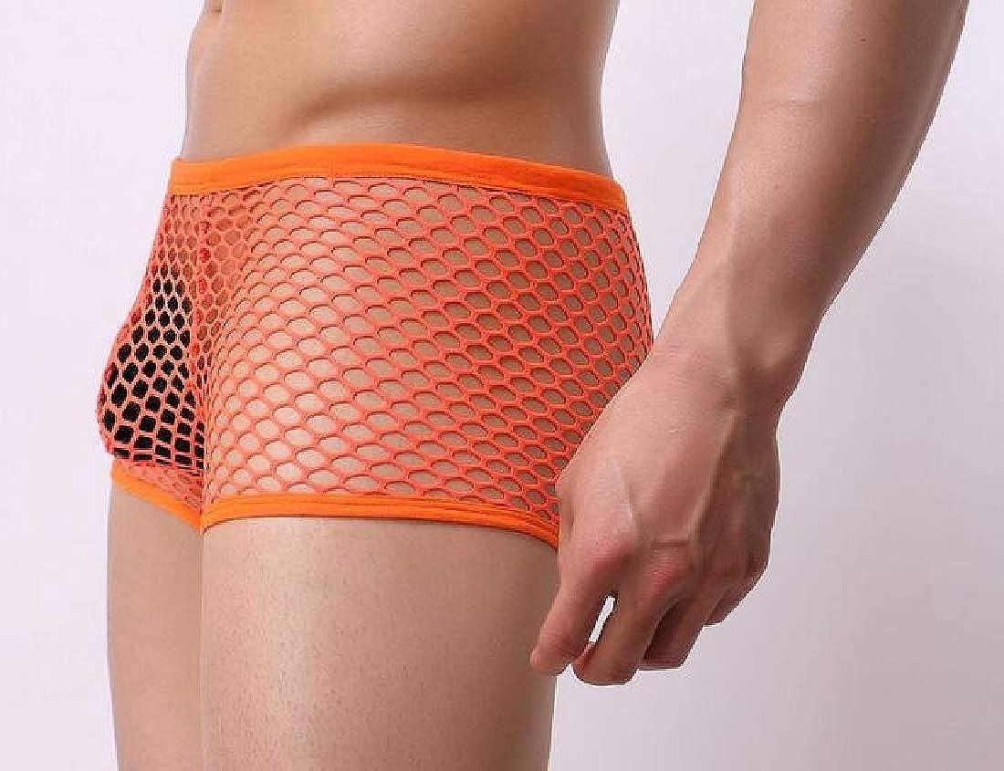 Alion Mens Briefs Underwear Bulge Sports Hollow Underpants Ventilation Trunks