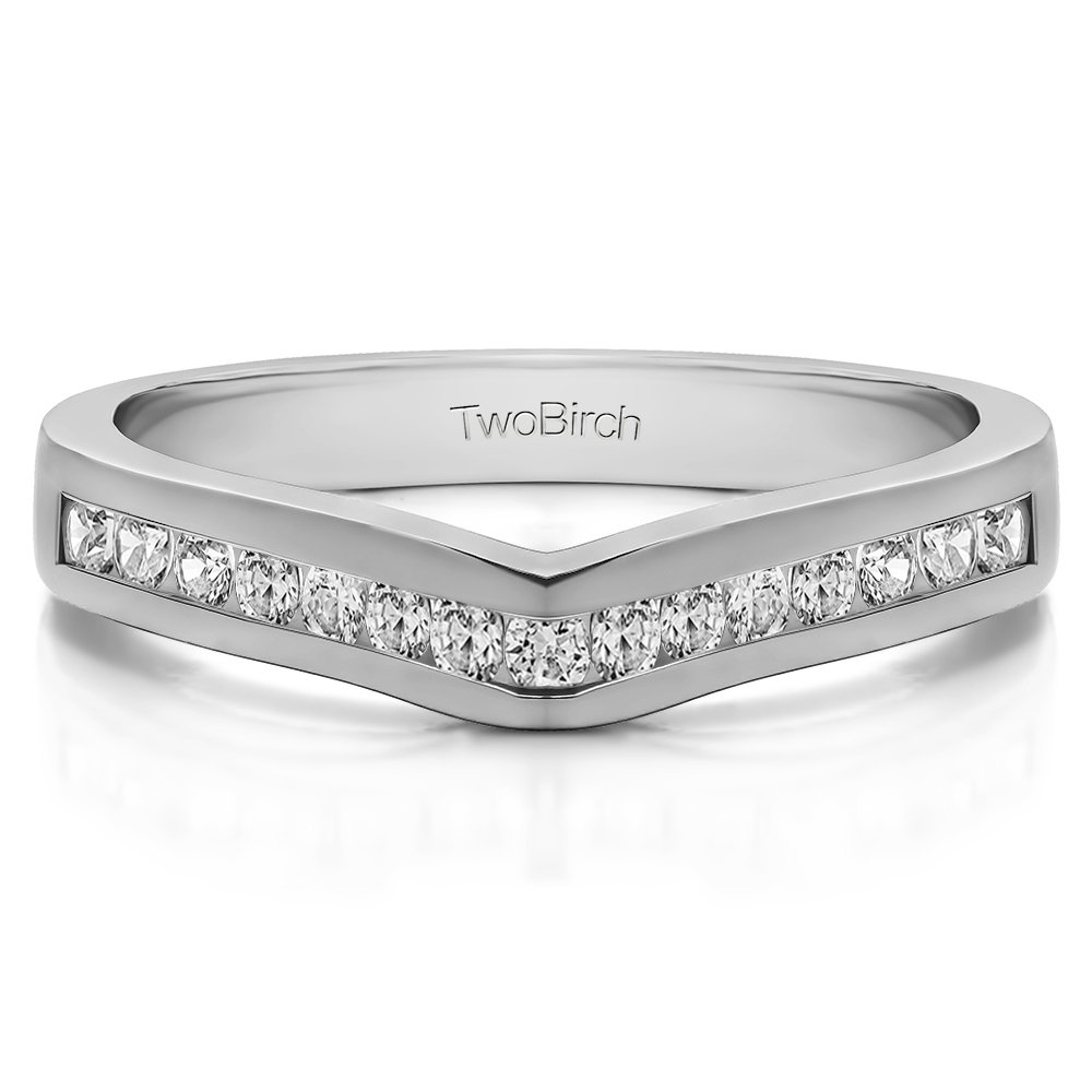 Diamonds (G-H,I2-I3) Contour Wedding Ring In Sterling Silver(0.5Ct)Size 3 To 15 in 1/4 Size Interval