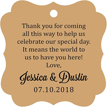 Darling Souvenir Custom Wedding Thank You Message Gift Tags Personalized Party Favor Hang Paper Tags-Burlap-100 Tags