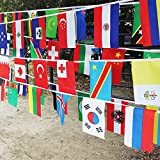 G2PLUS 82 Feet 8.2'' x 5.5'' International String Flag Banners 100 Country Flag Pennants for Bar Party Events Decorations