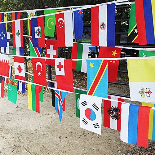 G2PLUS 82 Feet 8.2'' x 5.5'' International String Flag Banners 100 Country Flag Pennants for Bar Party Events (World Flag)
