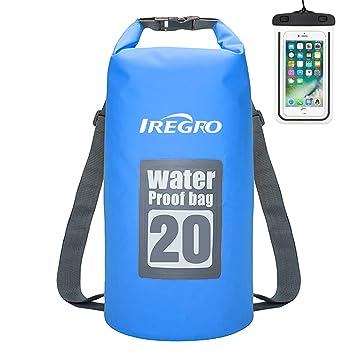 IREGRO Bolsa estanca 20L(Rafting/Kayak/Senderismo/esquí/Pesca/Escalada/Camping)