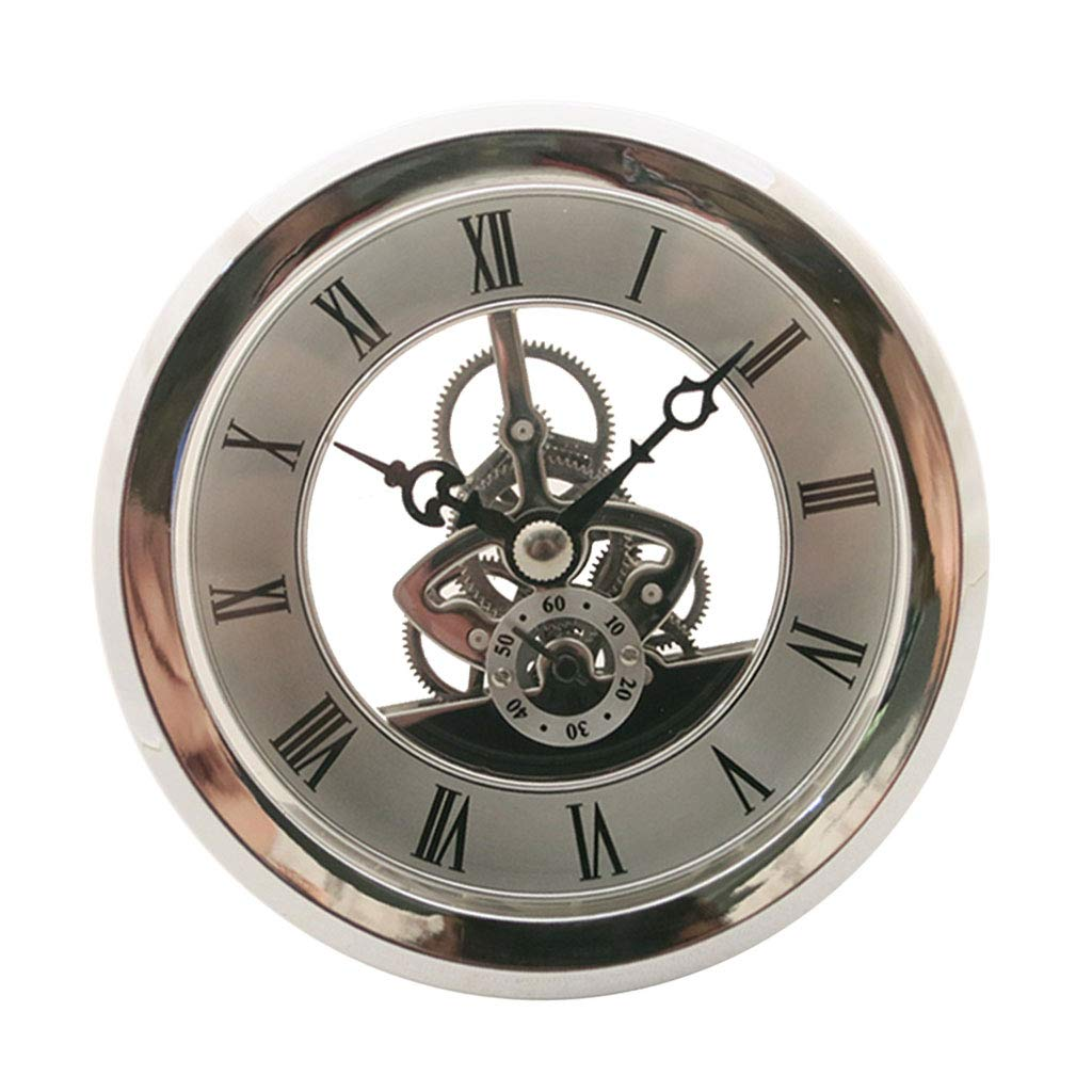 Fityle 4 Pieces Clear Skeleton Insert Clock Movement Quartz Battery Fit Up 91mm Silver Roman Dial by Fityle (Image #9)