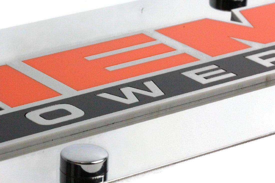 Eurosport Daytona Stainless Steel Plate HEMI Powered Badge Orange Black License Plate Frame