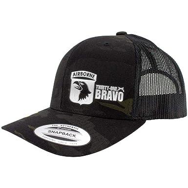 a6a1245214130 101st Airborne Thirty-One Bravo Multicam Trucker Hat (Black Multicam)