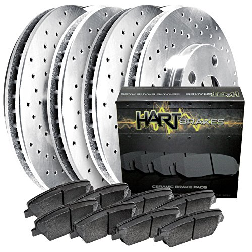 Fits 87-89 300ZX Full Kit Platinum Hart Drilled Brake Rotors and Ceramic Pads (87 Drilled 88 Brake 89)