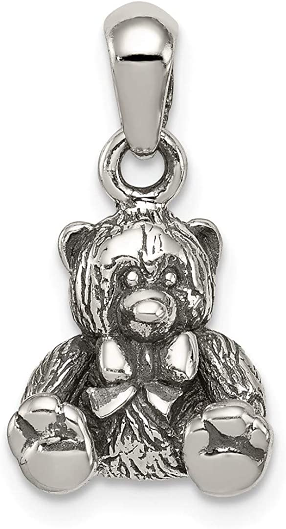 925 Sterling Silver Textured Bear Pendant Charm Necklace Baby Fine Jewelry Gifts For Women For Her