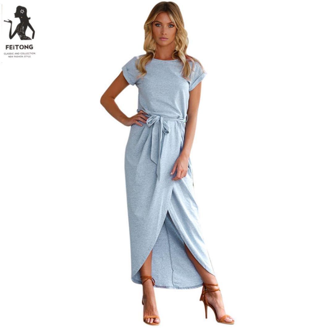 Women Solid Split Long Maxi Dress Evening Party Beach Dresses Sundress (XL, Blue)
