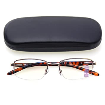 a400864113a Progressive Multiple Focus Reading Glasses Lightweight Metal Half Frame  Multifocus Glasses (Brown
